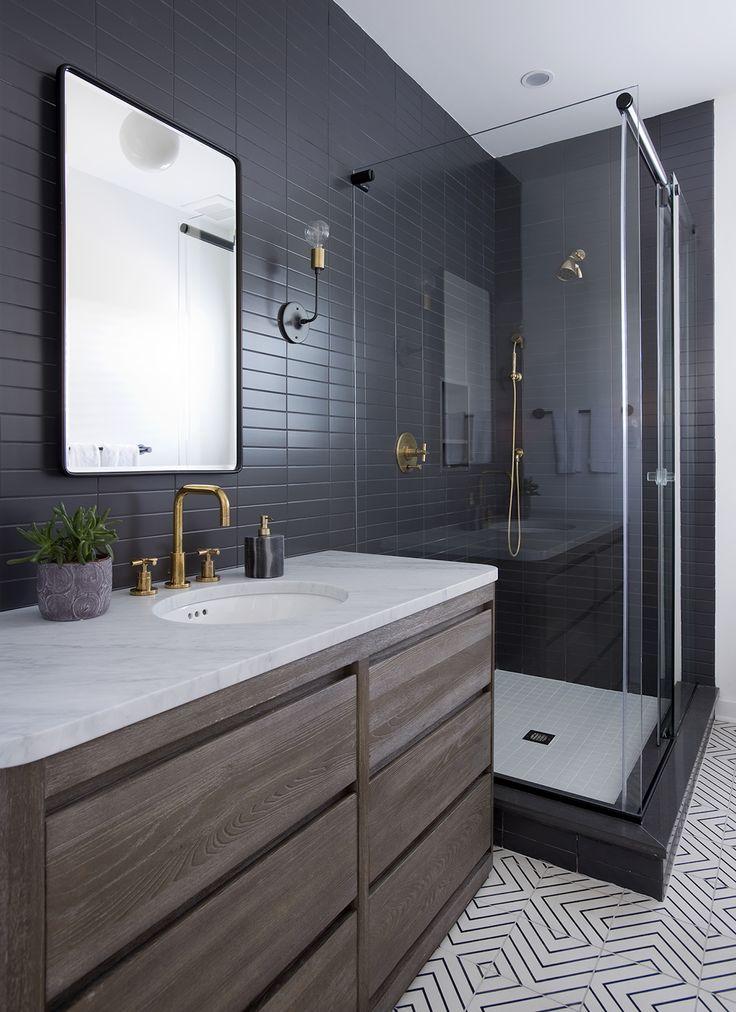 Come arredare un bagno moderno grigio scuro idee e rivestimenti originali for Bagno moderno grigio