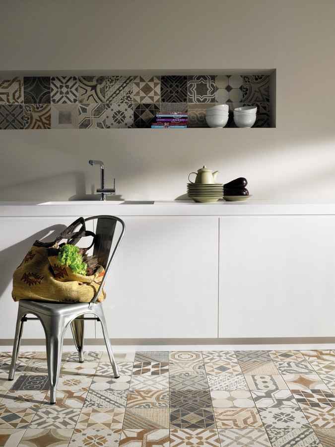 come arredare una cucina moderna bianca cementite