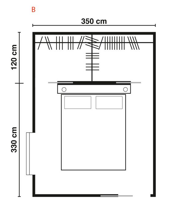 Progettare una cabina armadio dietro letto