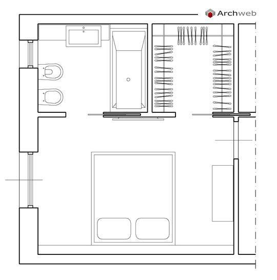Progettare una cabina armadio davanti a letto