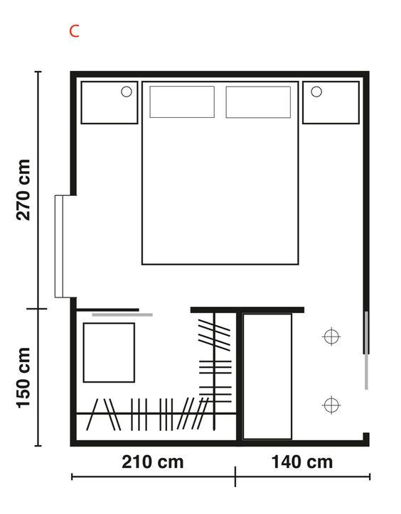 Progettare una cabina armadio di fronte al letto