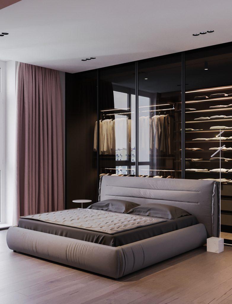 cabina armadio con vetro dietro letto