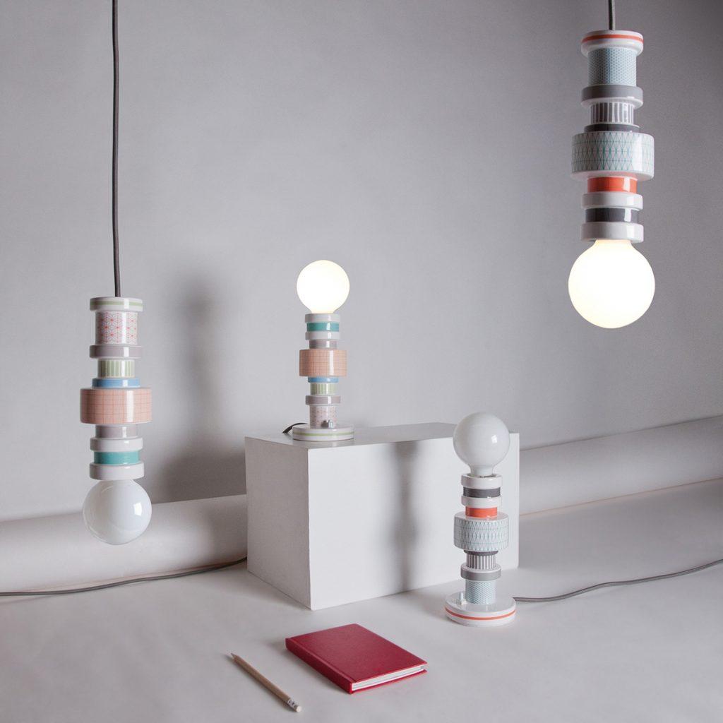 Illuminazione per il bagno lampada a sospensione in ceramica colorata
