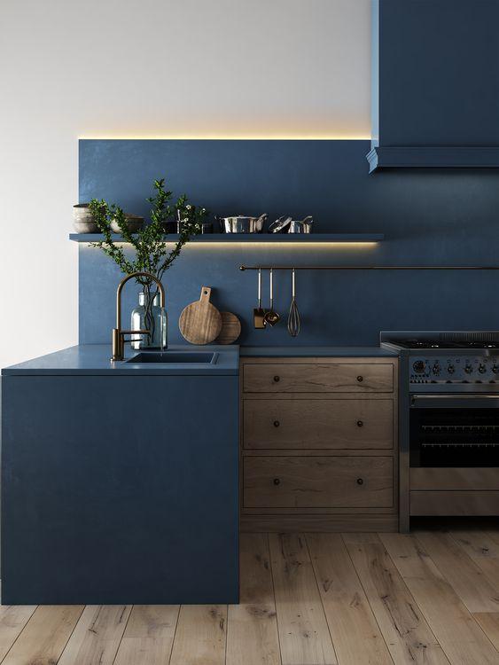 Paraschizzi cucina blu