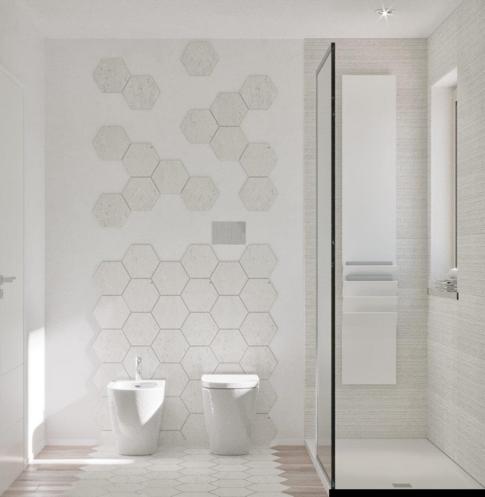 bagno piccolo con pareti bianche