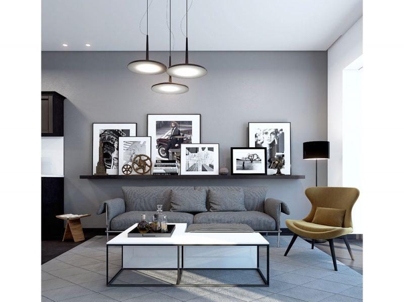 Come arredare la parete dietro il divano con abbinamenti quadri a parete grigia