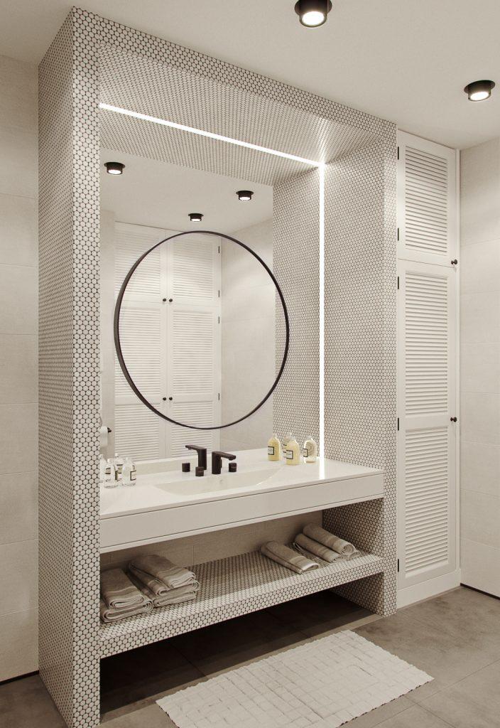 Arredare un bagno piccolo con specchi tondi