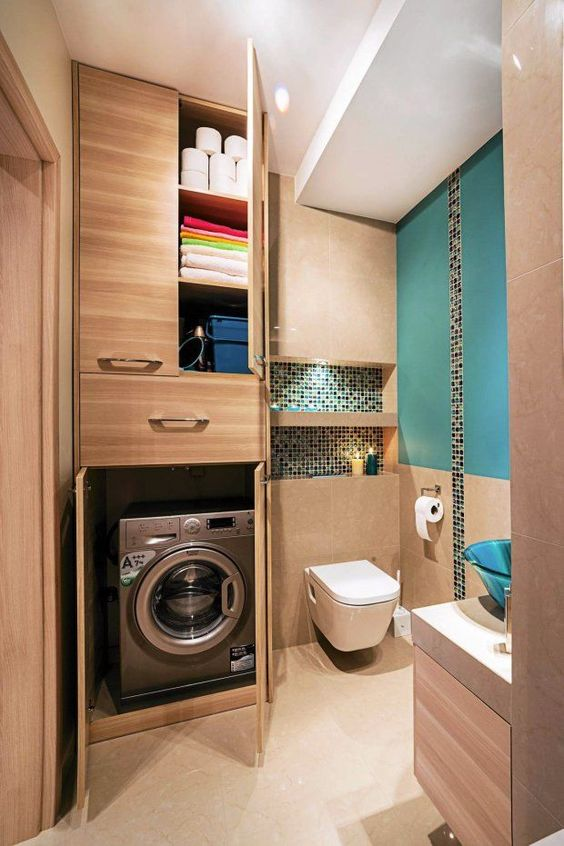 bagno piccolo con lavatrice nascosta