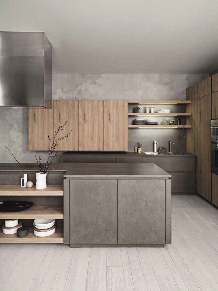 Cucina arredata in Cemento e legno