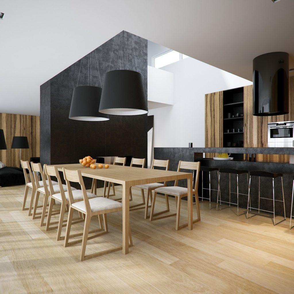Cucina con tavolo di materiale diverso dal resto