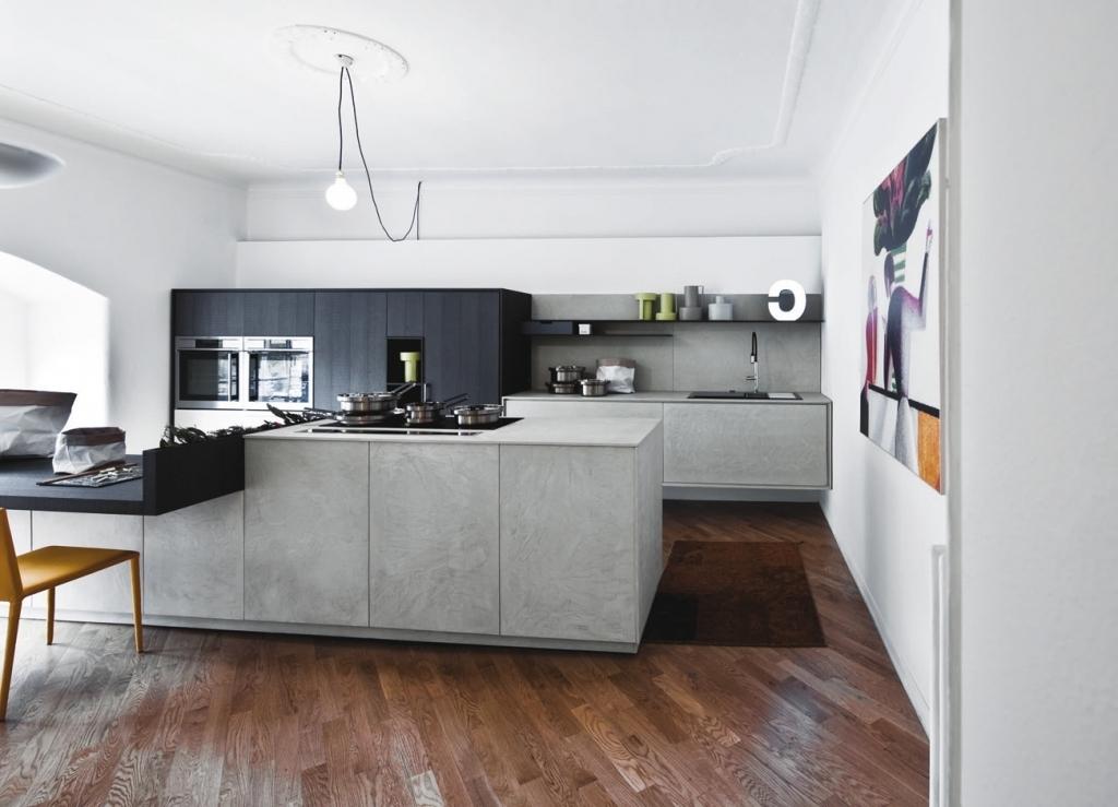 Cucina con Ante effetto cemento