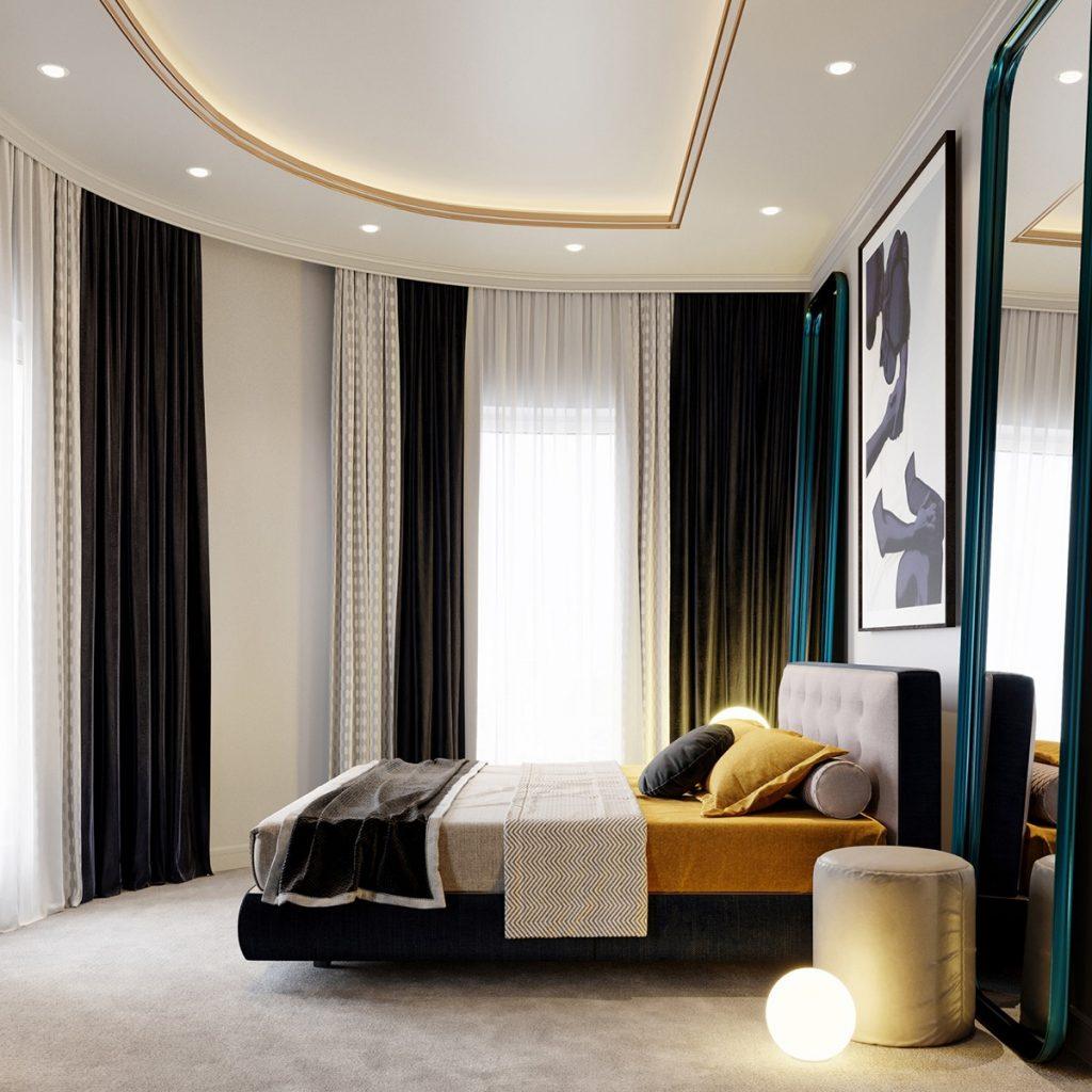 Camera da letto con arredi chiari e scuri