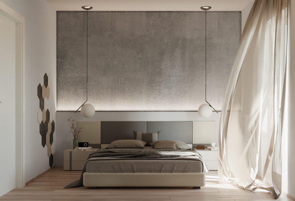 camera da letto in stile industriale chic