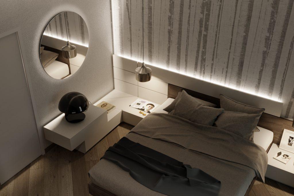 camera da letto con carta da parati monocromatica