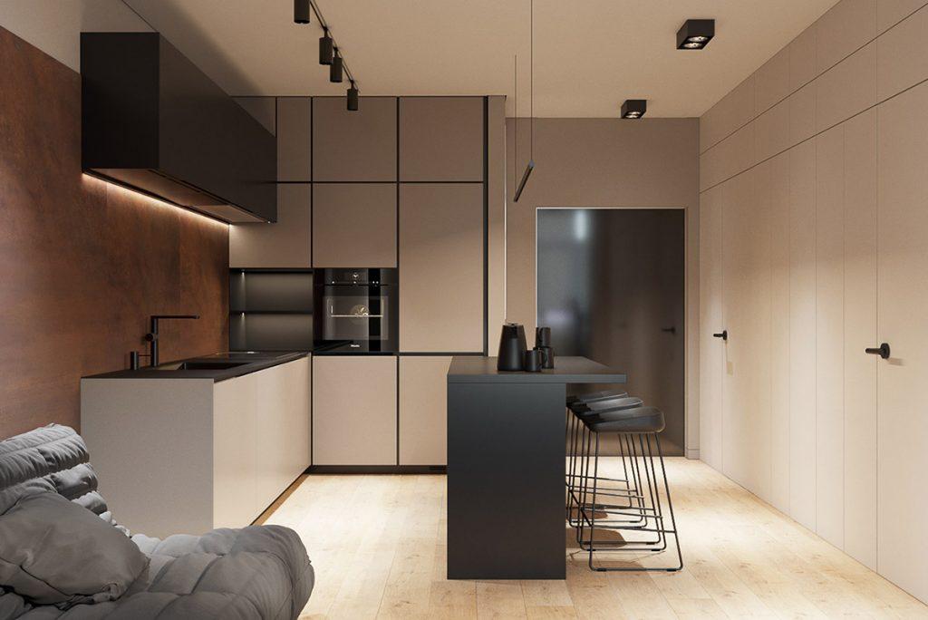 cucina con isola per casa piccola