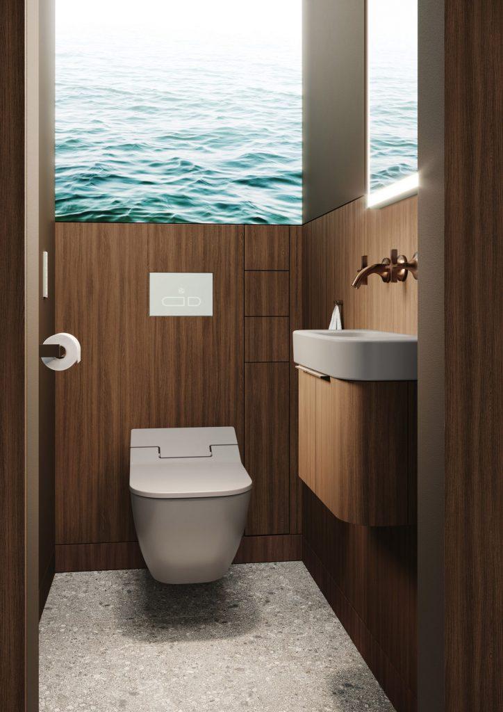 antibagno minimalista con lavabo