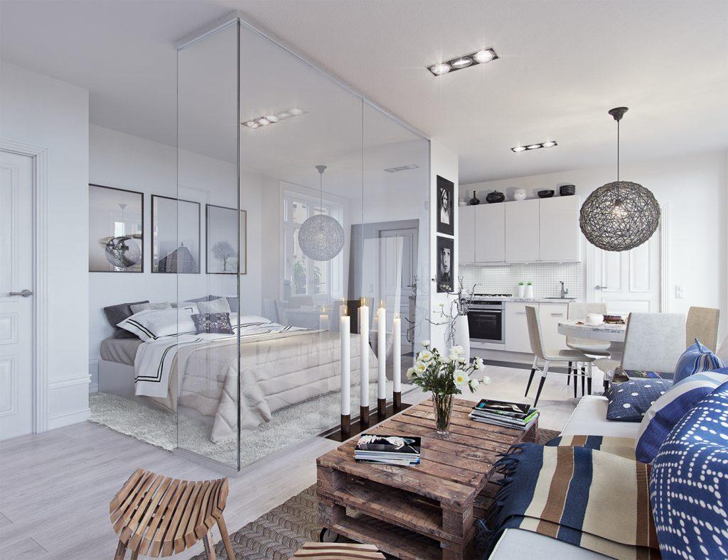 piccola casa con camera da letto divisa da vetro