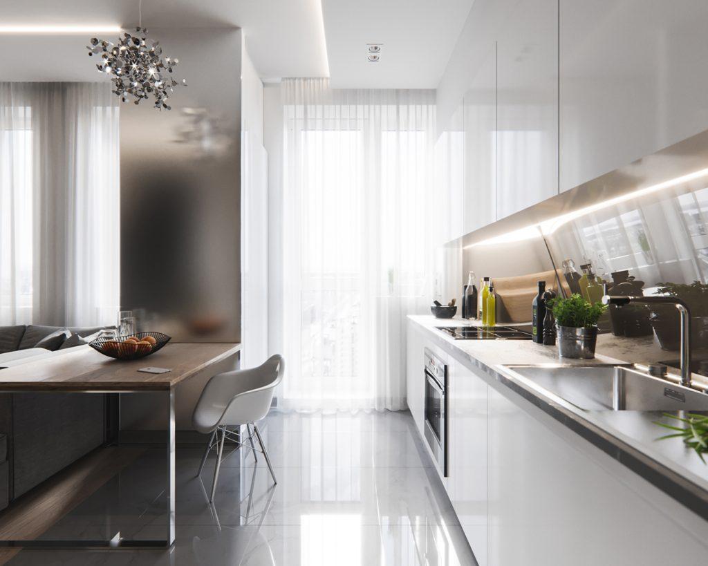 piccola cucina illuminata