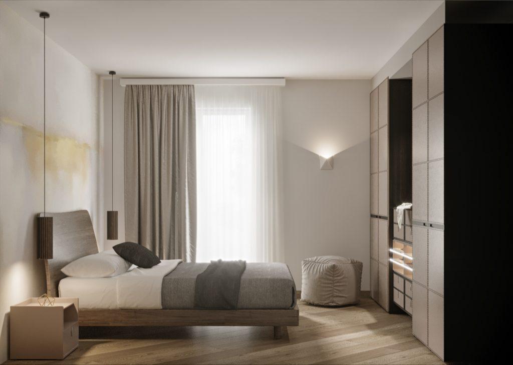camera da letto moderna con carta da parati