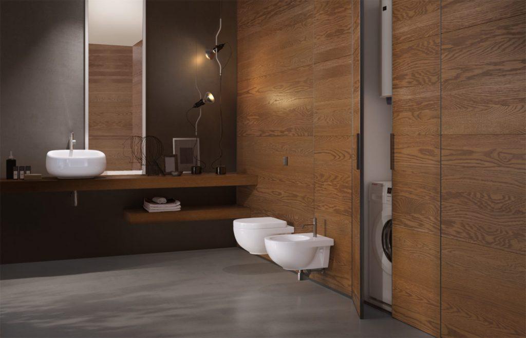 bagno con boiserie in legno