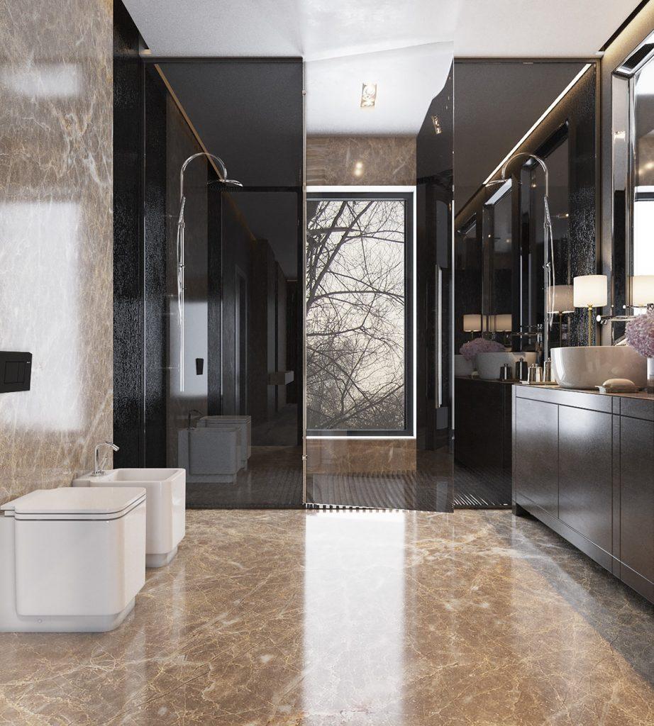 bagno in marmo colori neutrie caldi