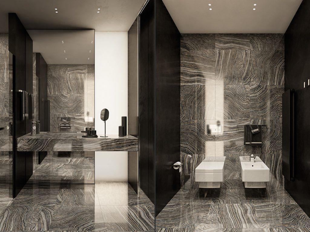 bagno in marmo scuro