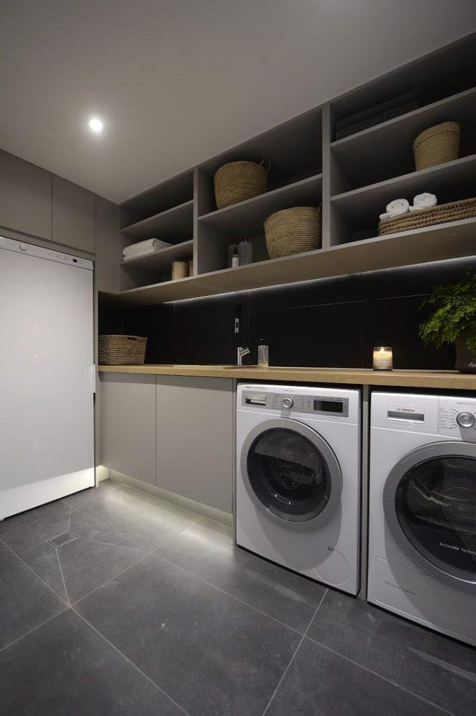 Organizzare la lavanderia in cucina elegante