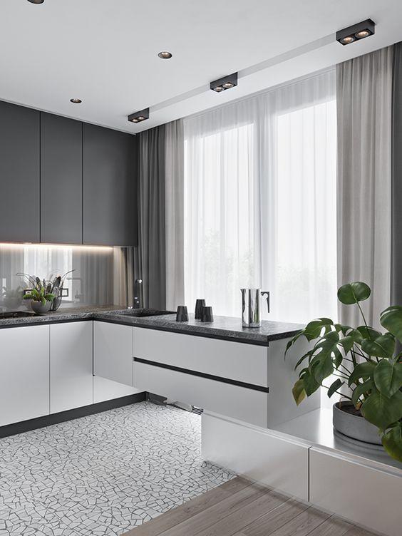 cucina grigia e bianca