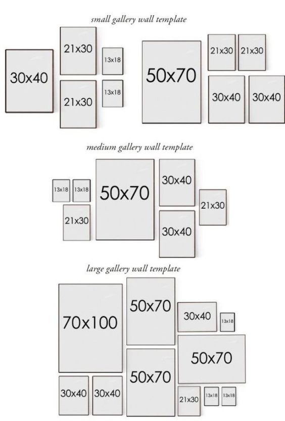 template con misure e schemi per appendere quadri