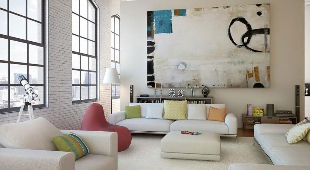 quadro grande in salotto su parete grande
