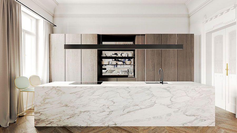 Cucina classica contemporanea con decori classici