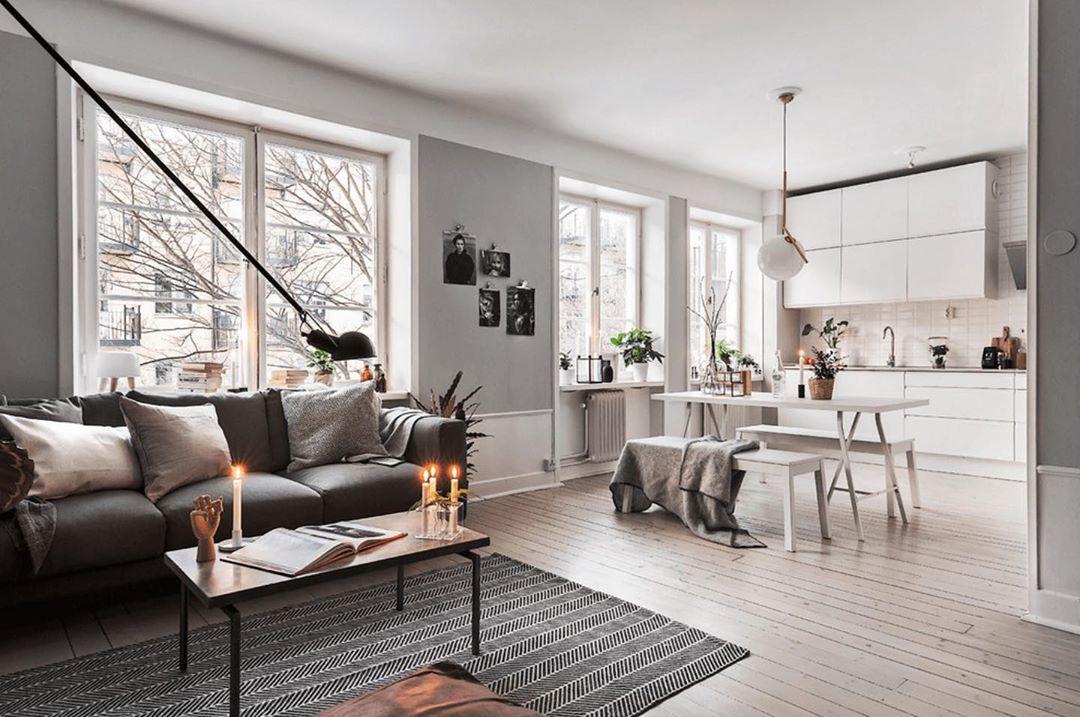 open space Arredato in stile scandinavo