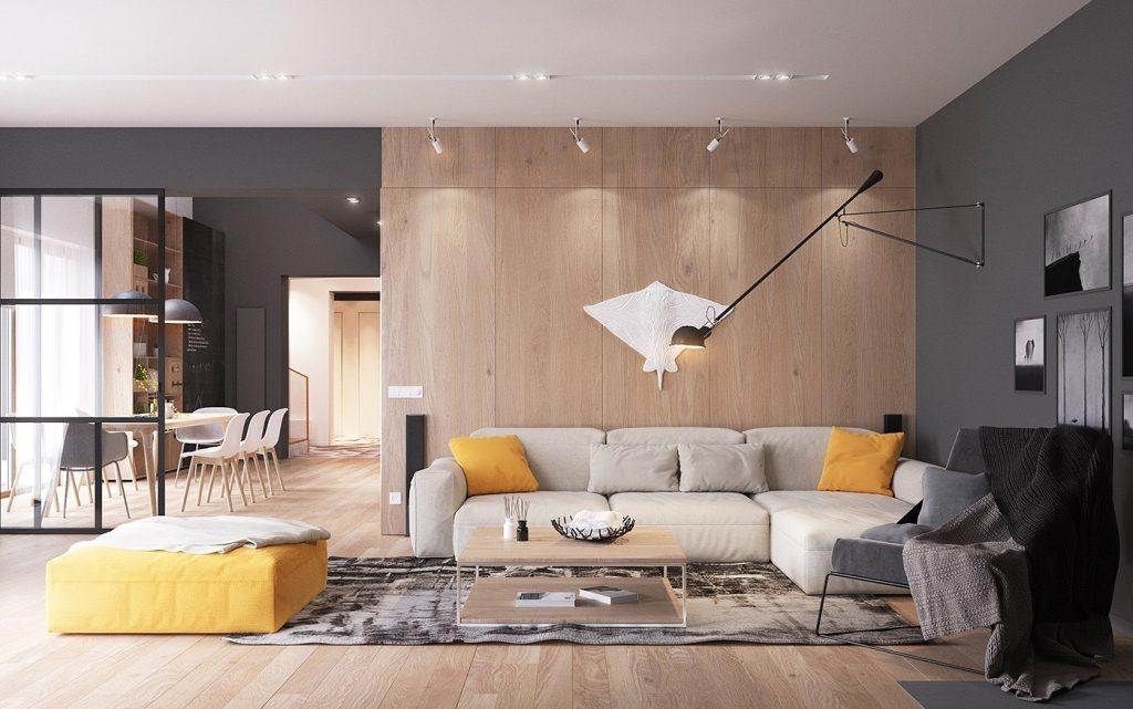 living room in stile scandinavo