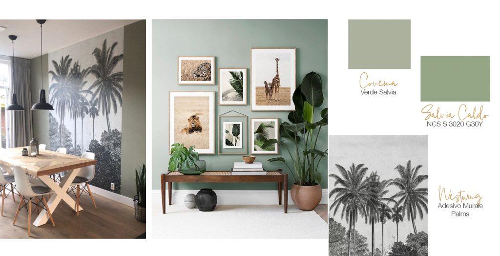 Verde salvia abbinato e colori natutali