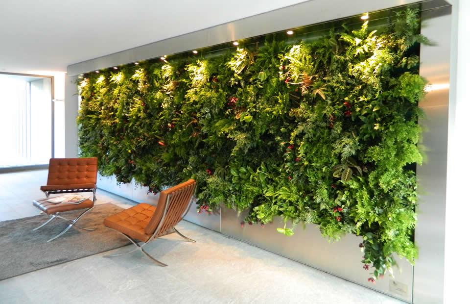 balcone con parete piante