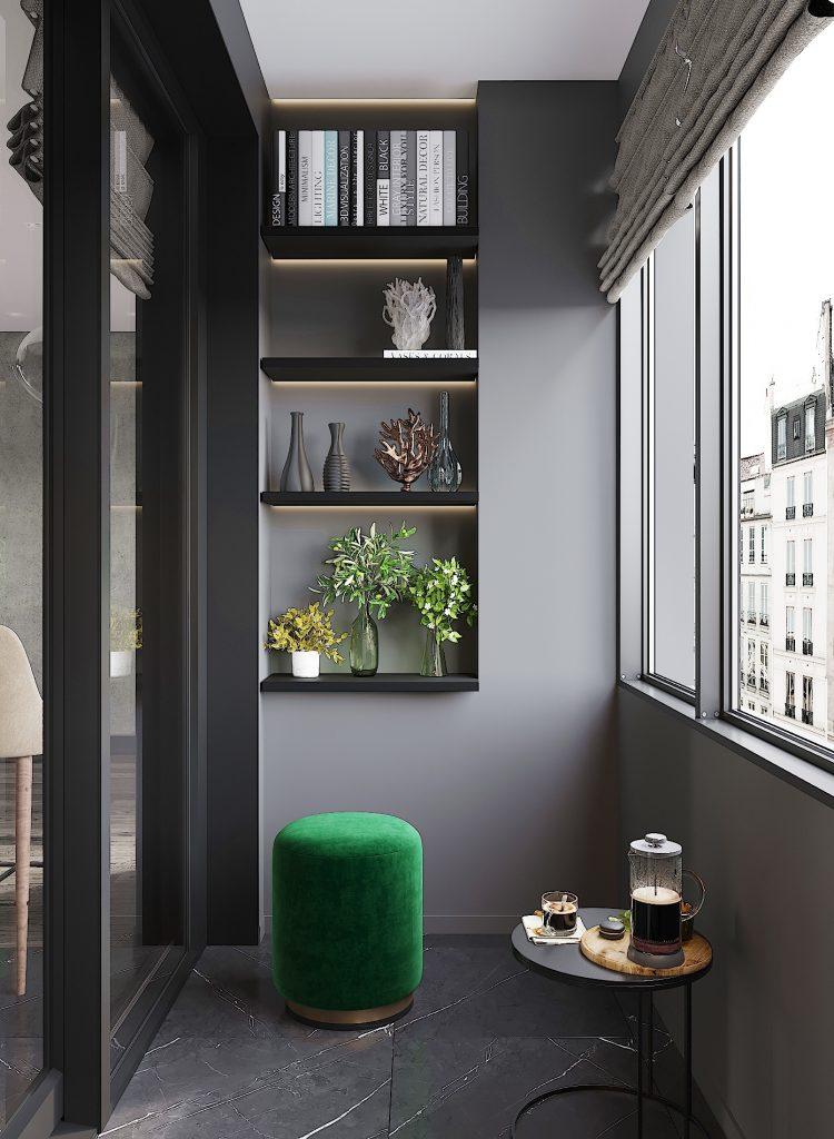 balcone con libreria