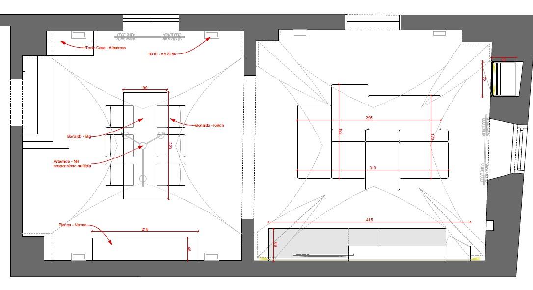 progetto soggiorno rettangolare dove mettere il tappeto