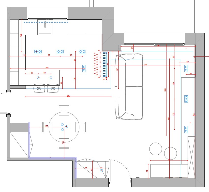progetto soggiorno rettangolare idee illuminazione