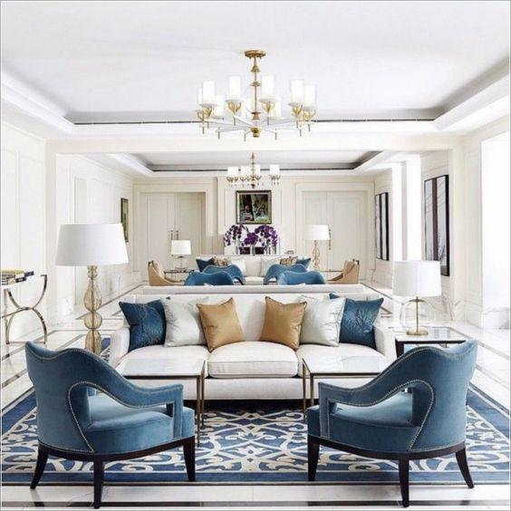 soggiorno arredato in stile americano