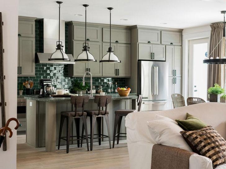 cucina arredata in stile americano con abbinamento colori arredamento particolari