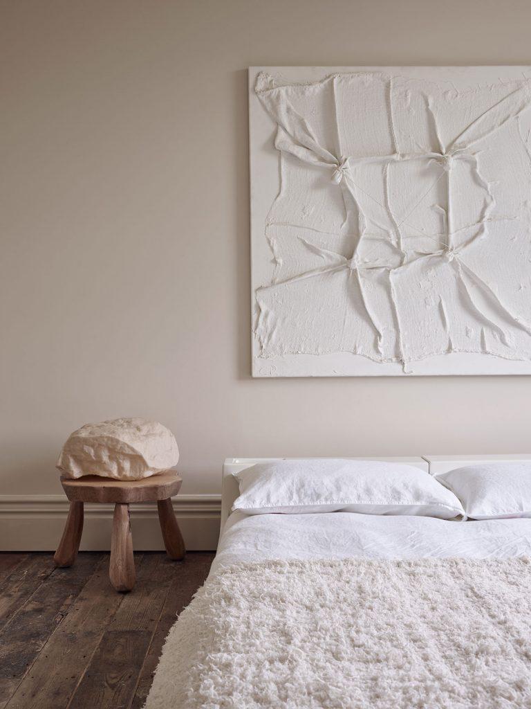 quadro grande bianco camera da letto stile Wabi Sabi