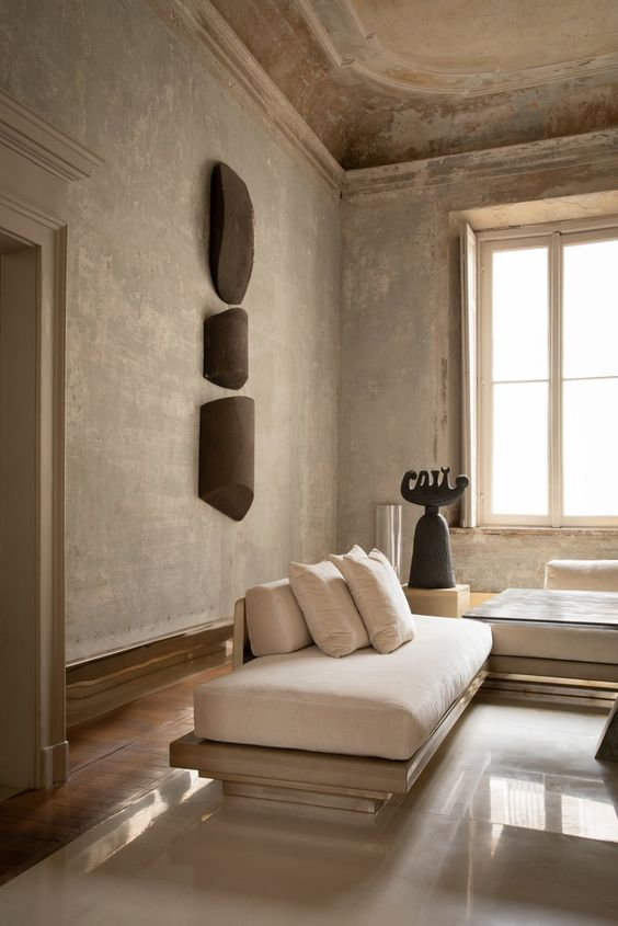 soggiorno stile Wabi Sabi
