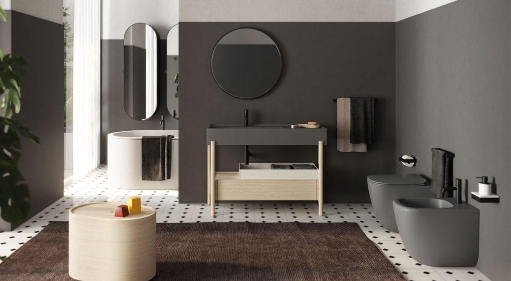 Mobile lavabo Plinio di Ceramica Cielo